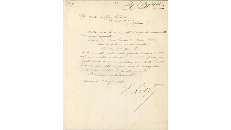 Brief von Franz Liszt an Tito I. Ricordi, 1. Mai 1868